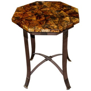 Kreiss Collection Coconut Shell Octagon Top Table With Iron Base For Sale