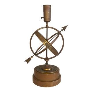 1950s Bronze Zodiac Armillary Sphere Lamp For Sale