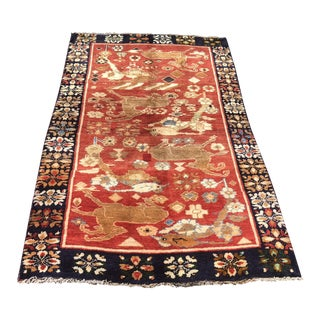 "1950s Hand Weaved Vintage Persian Qashghi Rug - 3'6""x6' For Sale"