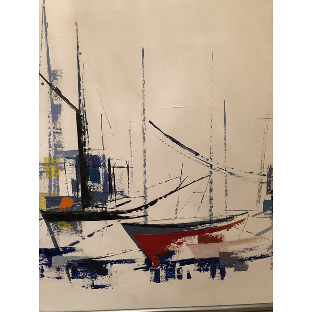Abstract 1970s Vintage Jp Collin Abstract Sailboat Painting For Sale - Image 3 of 9
