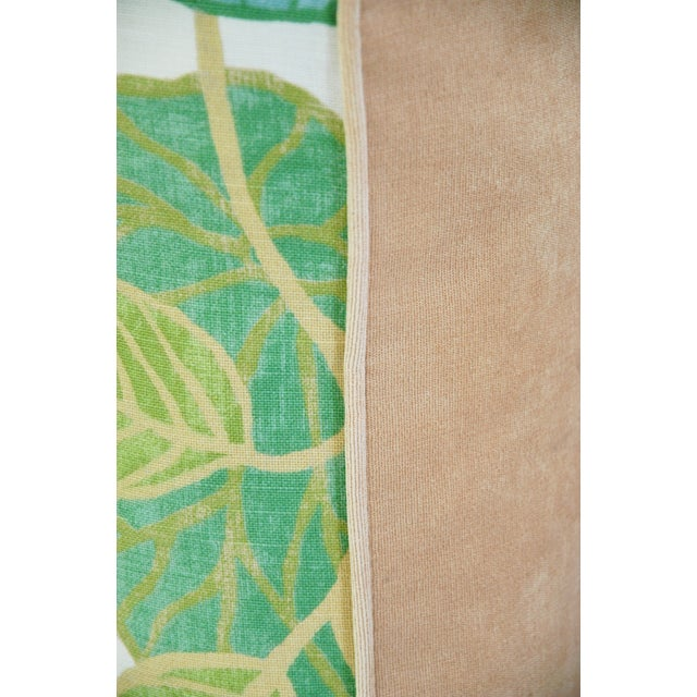 Custom Tailored Atrium Foliage Feather/Down Linen & Velvet Pillows - Pair For Sale - Image 11 of 11
