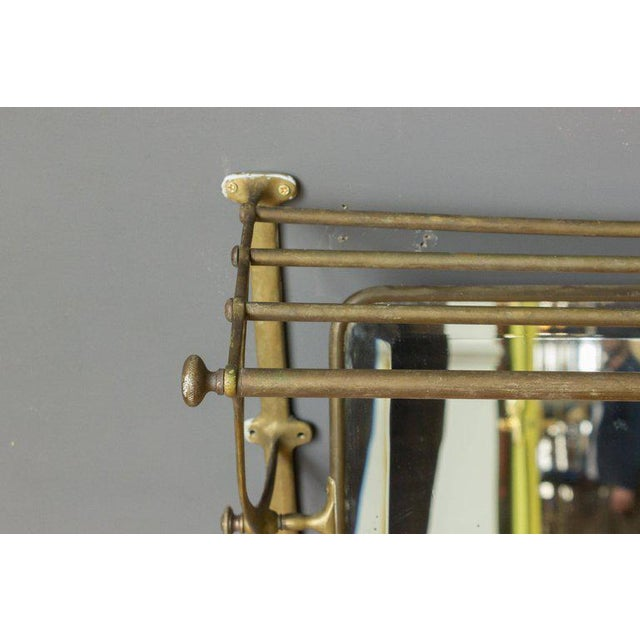 Brass Coat Rack With Mirror and Hooks - Image 7 of 9