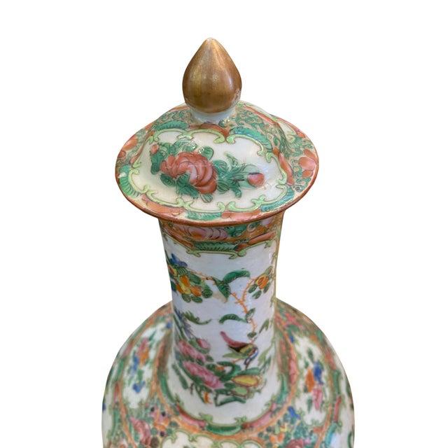 Antique Rose Medallion Bottle Lidded Vase For Sale - Image 4 of 6