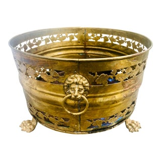 19th Century English Pierced Brass Lion's Head Cache Pot For Sale