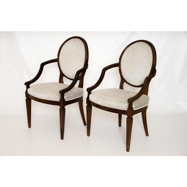 Louis XVI Gray Velvet Dining Chairs - Set of 8 - Image 3 of 9