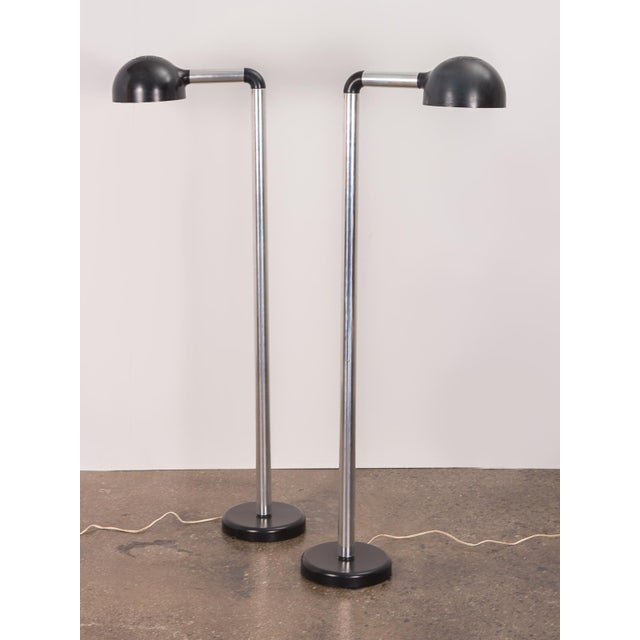 Pair of Robert Haussmann Chrome Floor Lamps for Swisslamps For Sale - Image 11 of 11