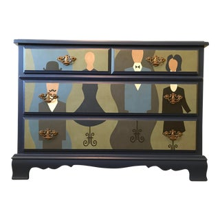 Custom Figurative Painted Navy Blue Dresser For Sale
