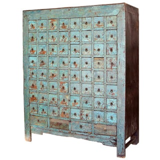 Chinese Antique Blue Apothecary Cabinet For Sale