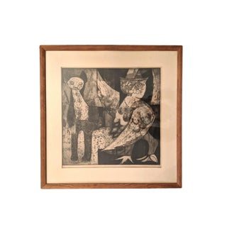 1950s Abstract Itaglio Print by Jeanne Herron Richards For Sale