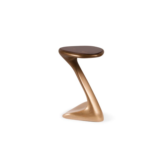 Palm Side Table Gold Finish With Walnut Top For Sale In Los Angeles - Image 6 of 9