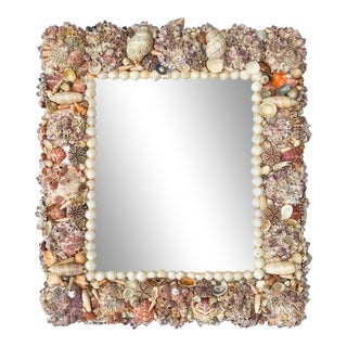 Vintage Seashell Shell Encrusted Mirror For Sale