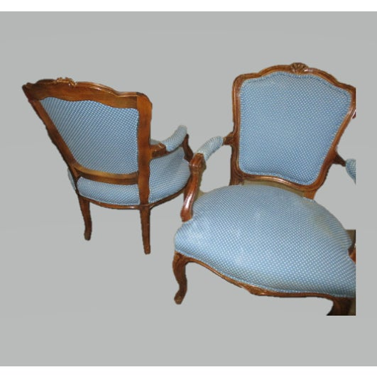 A Pair Bergere Chairs - Blue Antique French Country Accent Chair For Sale - Image 4 of 7