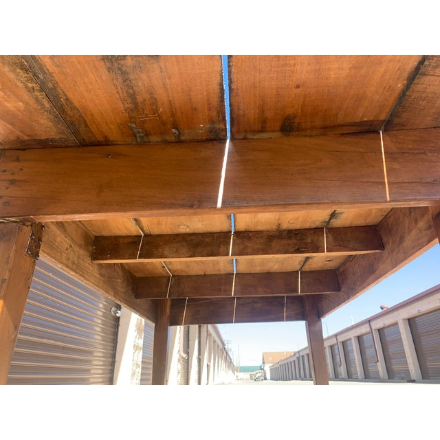 Rustic Barnwood Plank Top Dining Table For Sale - Image 10 of 13
