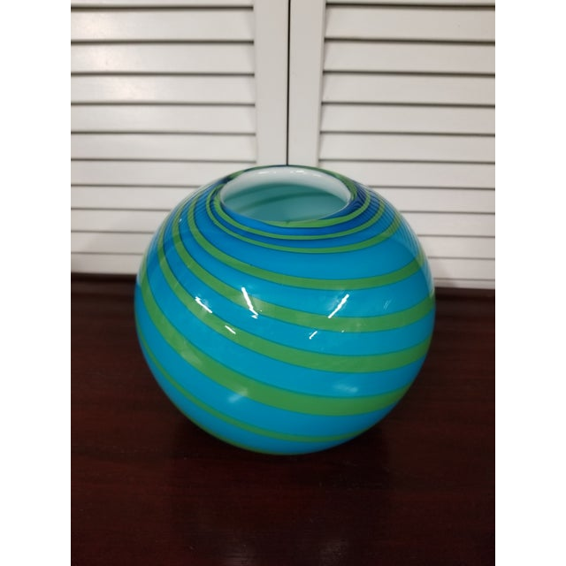 2010s Swirled Art Glass Vase For Sale - Image 5 of 5