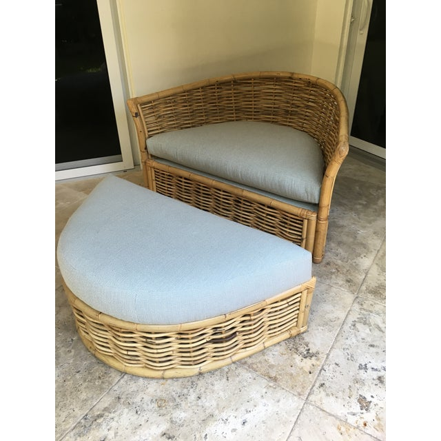 Wood Vintage Rattan Lounger and Ottoman For Sale - Image 7 of 7