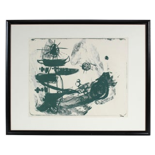 1950s Mid-Century Abstract Modern Stone Lithograph on Paper in Green For Sale