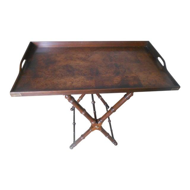 Knob Creek Burl Walnut Tea Tray Table - Image 1 of 7