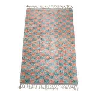 Made-To-Order Sage & Coral Checker Pattern Moroccan Wool Area Rug - 6′ × 9′ For Sale