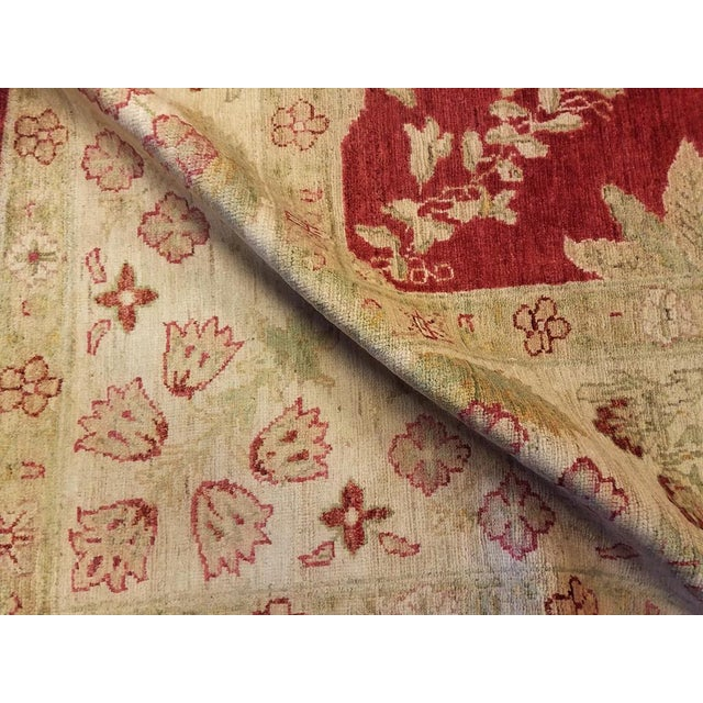 """1990s Peshawar Jacquely Red & Tan Wool Rug - 10'2"""" x 14' For Sale - Image 5 of 7"""