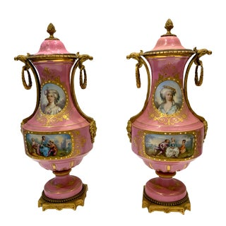 Late 19th Century Pink Urns With Lids - a Pair For Sale