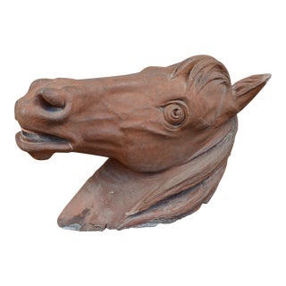 French Terracotta Horse Bust For Sale