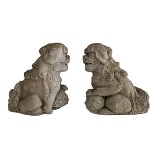 Large Vintage Foo Dog Statues - a Pair For Sale