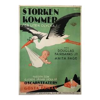 Swedish Art Deco Film Poster, the Stork Is Coming (Douglas Fairbanks) For Sale