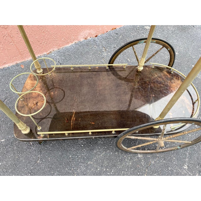 Coffee Vintage Aldo Tura Goatskin Bar Cart For Sale - Image 8 of 13