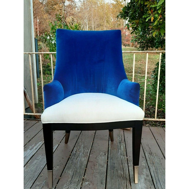 """Caracole """"You'Re Invited"""" Blue and White Upholstered Side Chair For Sale - Image 12 of 13"""