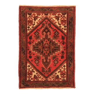 "RugsinDallas Hand Knotted Wool Persian Hamadan Rug - 3'2"" X 4'7"" For Sale"