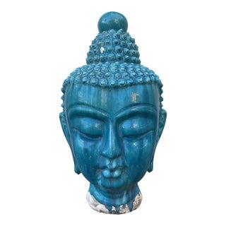 Turquoise Majolica Drip Glaze Buddha Head Large For Sale