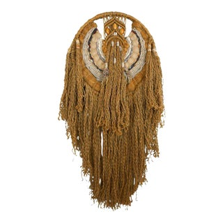 1970s Vintage Jute Macrame Dream Catcher Wall Hanging