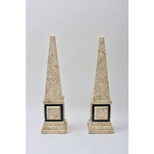 Mid 20th Century Tan & Black Marble Obelisk For Sale - Image 5 of 11