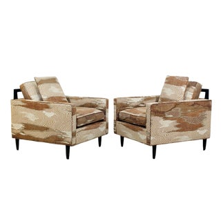 Mid Century Modern Pair Lounge Chairs Harvey Probber Gabrielle Cie Fabric 1970s For Sale
