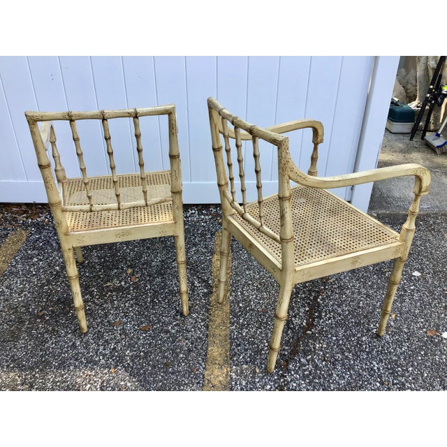 White Faux Bamboo Chippendale Style Armchairs - a Pair For Sale - Image 8 of 13