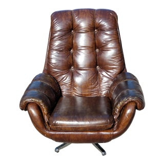 Vintage Swedish Swivel Tilting Lounger Chair For Sale