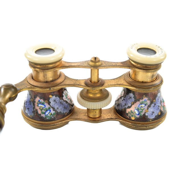 Antique 19th C French Enamel & Brass Opera Glasses - Image 4 of 9