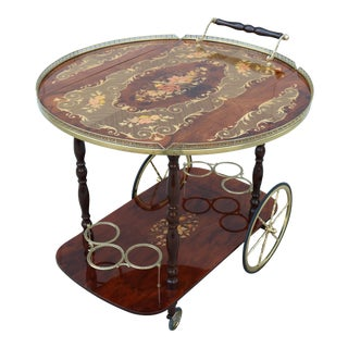 1960s Italian Brass and Wood Floral Inlaid Rolling Bar Cart Trolley For Sale
