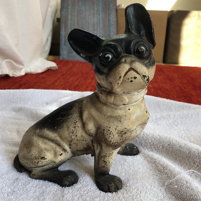 French bulldog door stop Iron Original paint