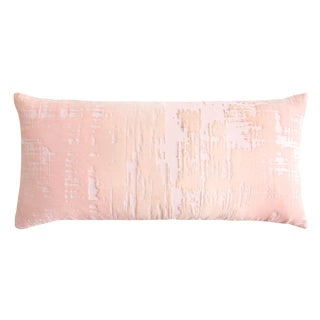 Blush Brushstroke Velvet Lumbar Pillow