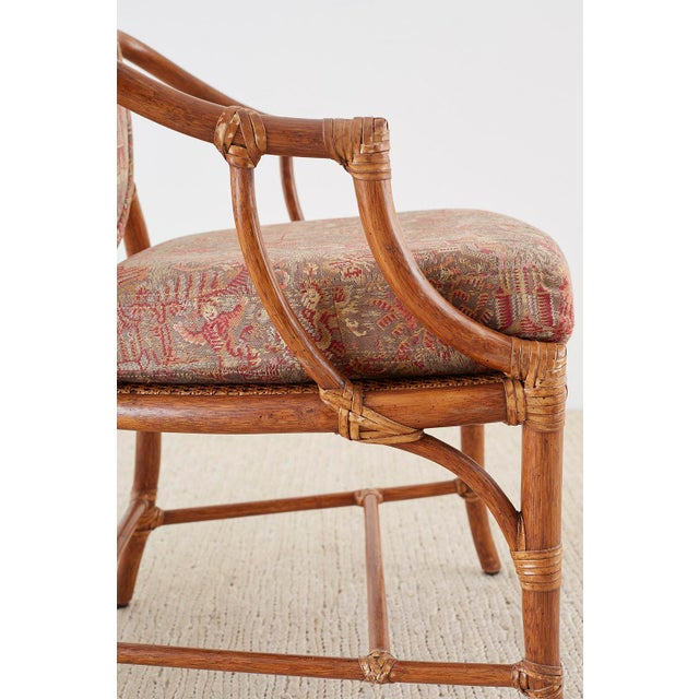 McGuire McGuire Rattan Chinoiserie Dining Armchairs - Set of 8 For Sale - Image 4 of 13