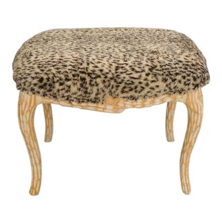 Vintage Hollywood Regency Faux Bois Wood Stool Bench Ottoman For Sale