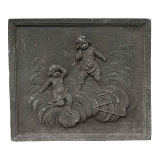 Salvaged Cherubic Square Stone Frieze For Sale