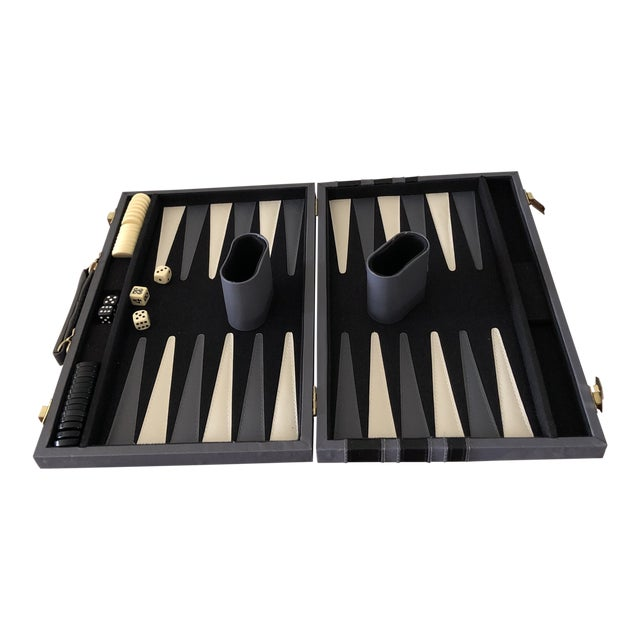 Italian Leather Backgammon Set For Sale