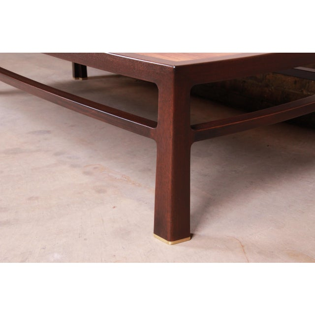 Edward Wormley for Dunbar Monumental Rosewood and Walnut Coffee Table, Newly Restored For Sale - Image 9 of 13