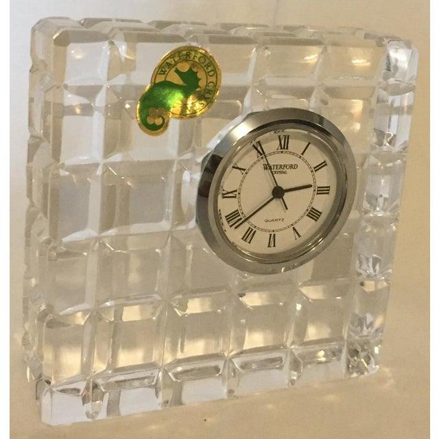 Waterford Crystal Waterford's Small Square Crystal Desk Clock For Sale - Image 4 of 4