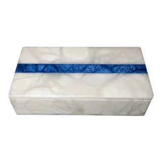 Hermes Inspired Alabaster Box With Navy Blue Stripe For Sale