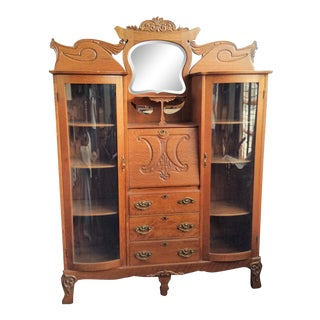 Double Side by Side Bowed Glass Oak Secretary Desk/Bookcase For Sale