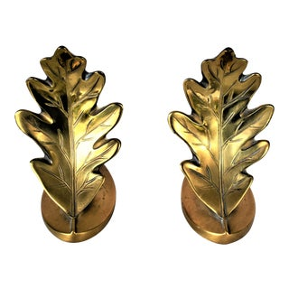 Vintage Brass Oak Leaf Bookends - a Pair For Sale