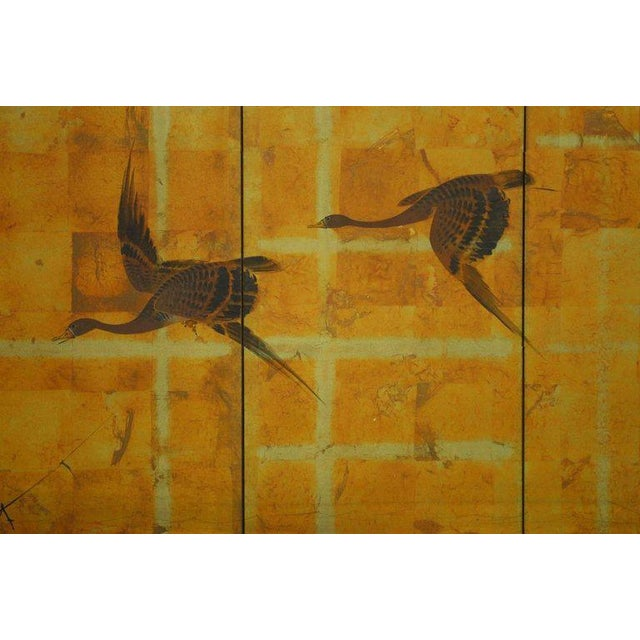Japanese Four-Panel Byobu Screen Autumn Geese For Sale - Image 4 of 11
